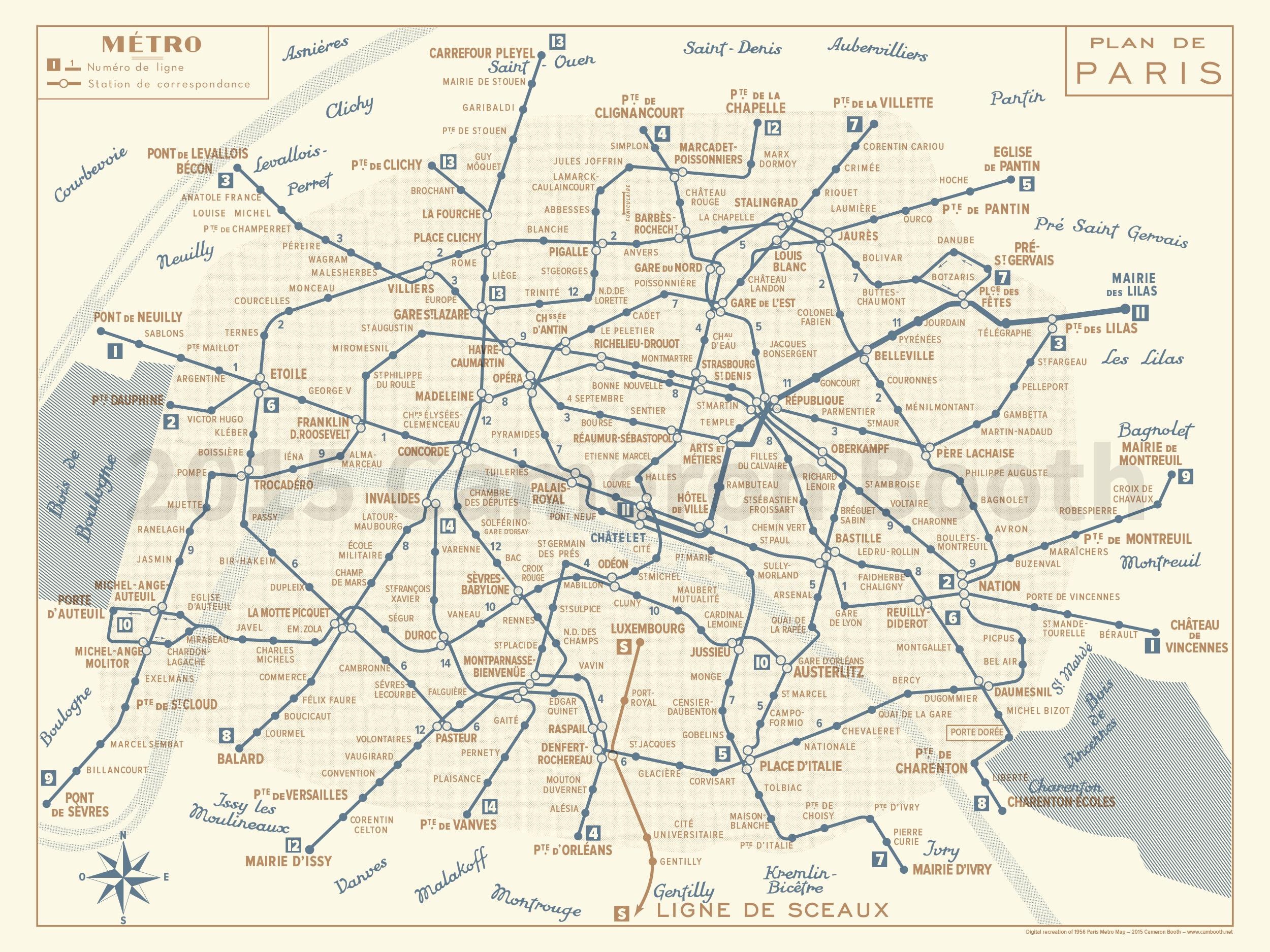 France paris train rail maps paris metro rail train map 1956 sciox Gallery