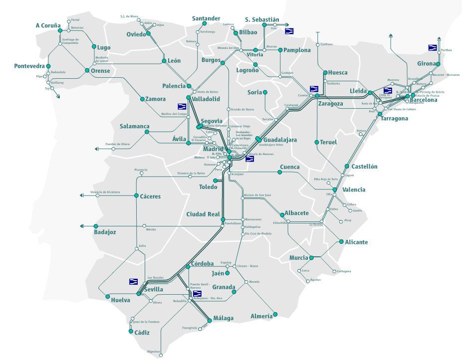Map Of Spain Train Routes.Spain Madrid Barcelona Train Rail Maps