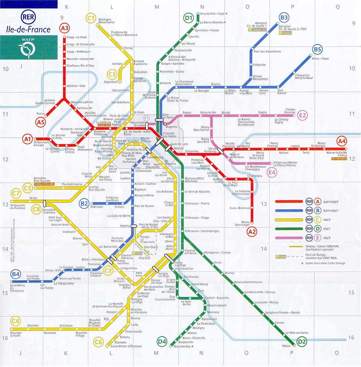 France and Paris train rail maps – Metro Map in Paris