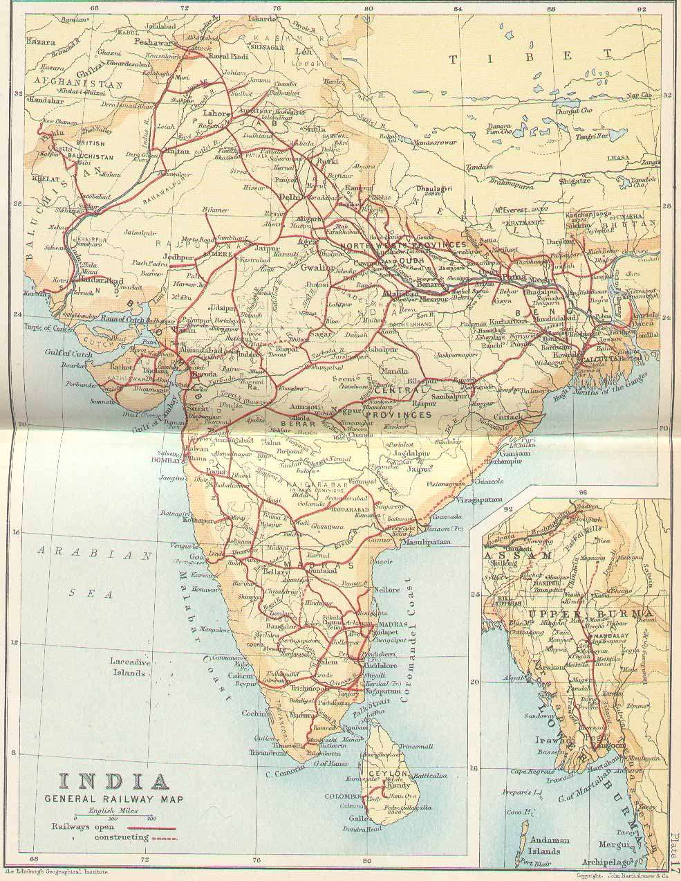 India Train Rail Maps - 1800s world map