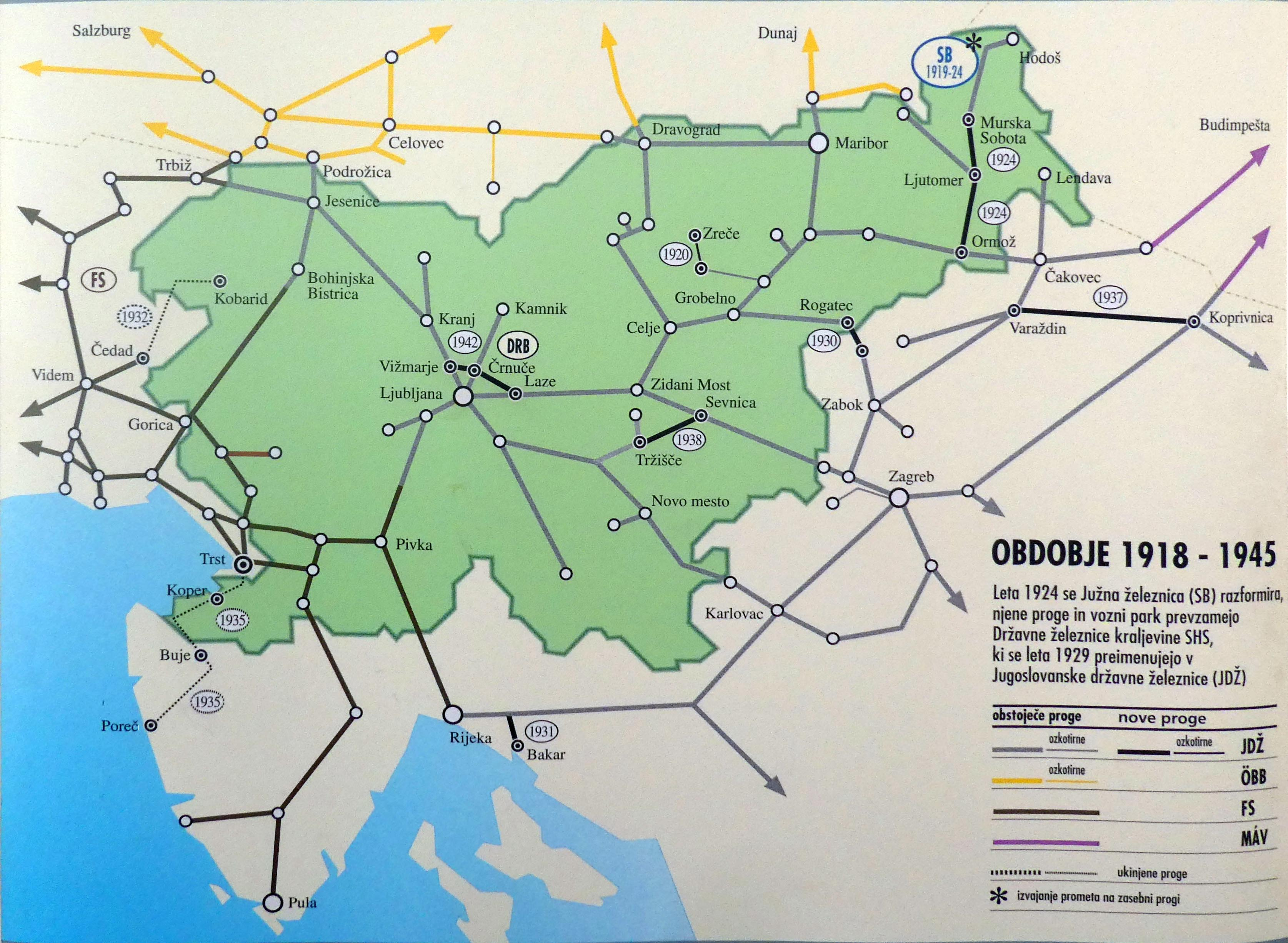 Slovenia train rail maps