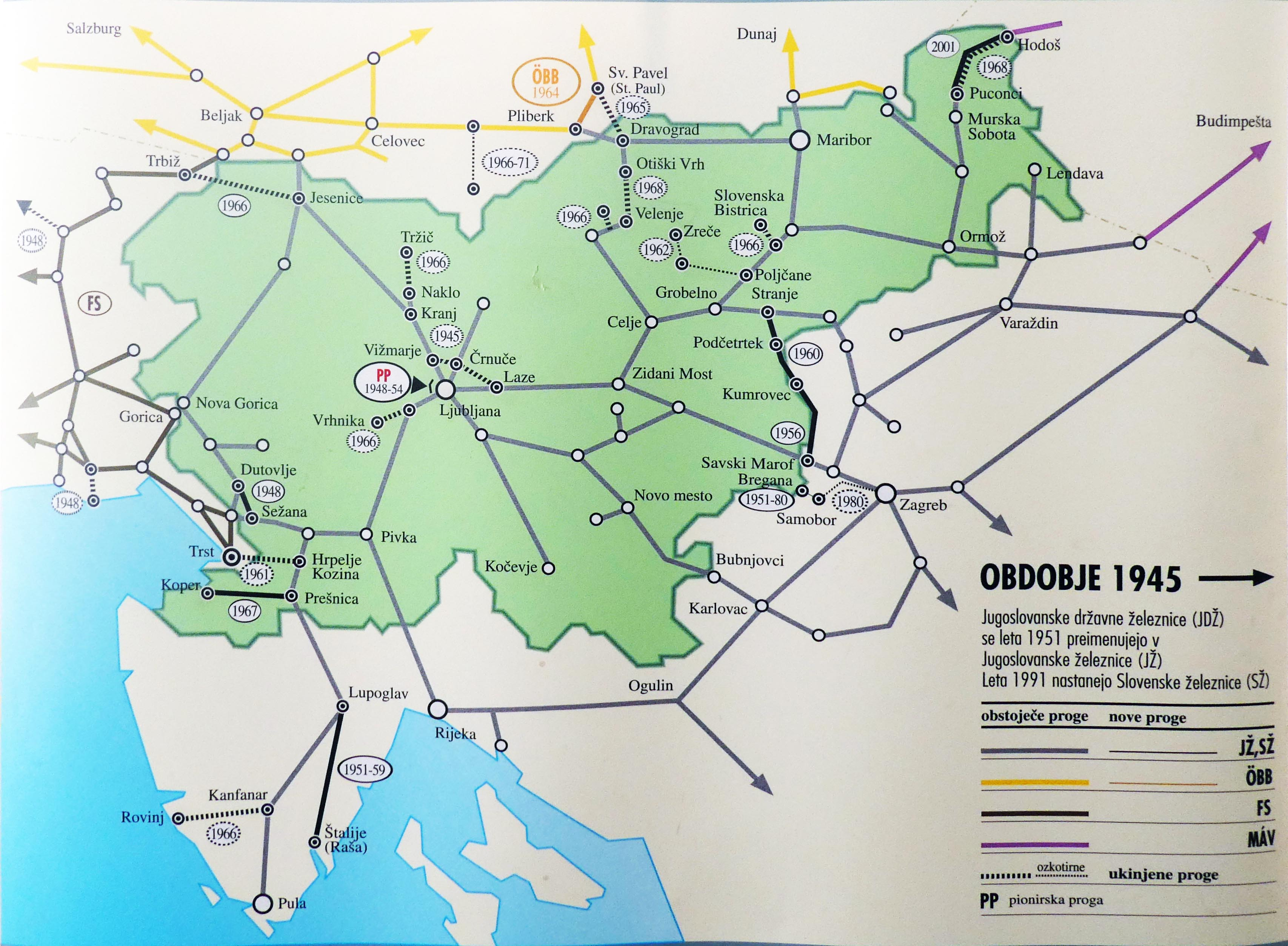 Slovenia train rail maps