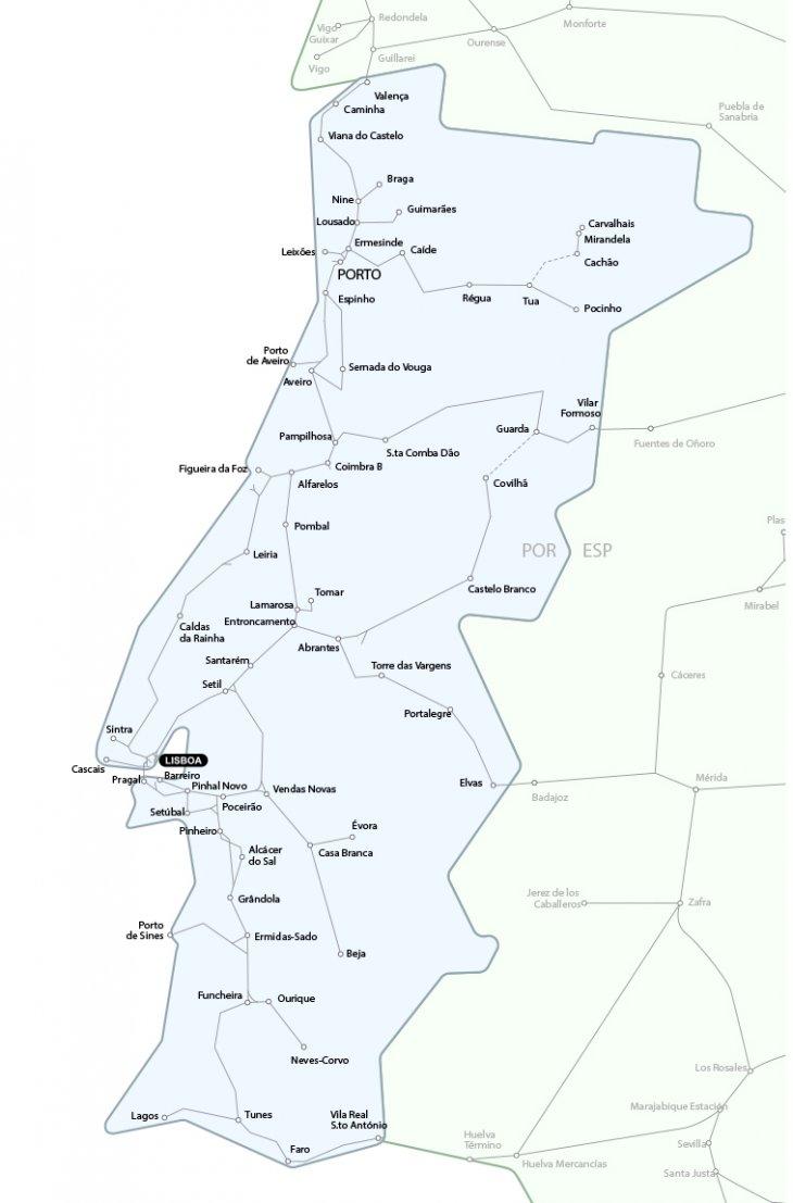 Europe Train Rail Maps - Portugal map train