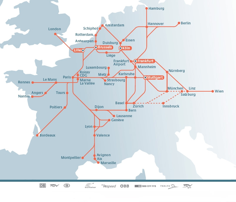 railteam hi speed train rail european network map