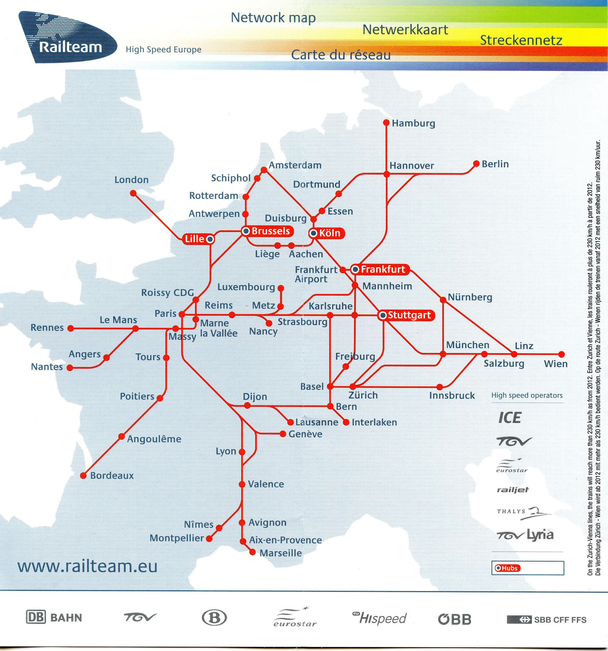 Paris Europe Map.Railteam High Speed Europe