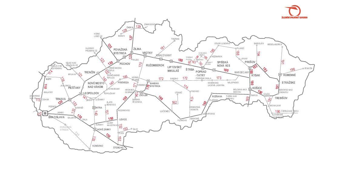 Slovakia Bratislava train rail tram trolleybus maps