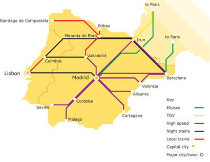 Barcelona In Spain Map.Spain Madrid Barcelona Train Rail Maps