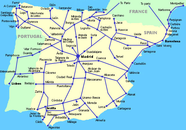Map Of Spain With Barcelona.Spain Madrid Barcelona Train Rail Maps
