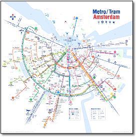 Subway Map Amsterdam.Holland Dutch Train Rail Maps