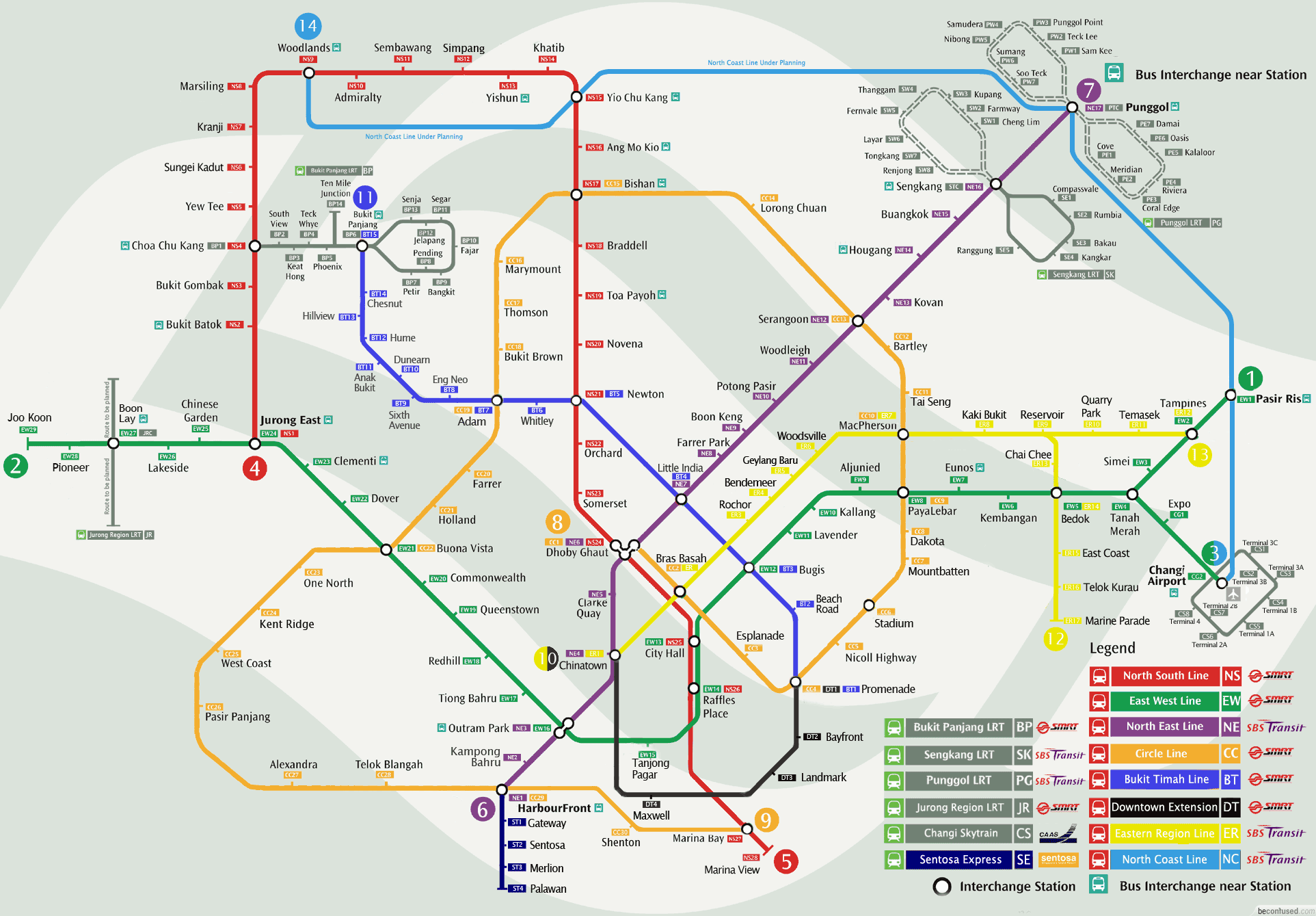 Singapore MRT amp LRT Train Rail Maps