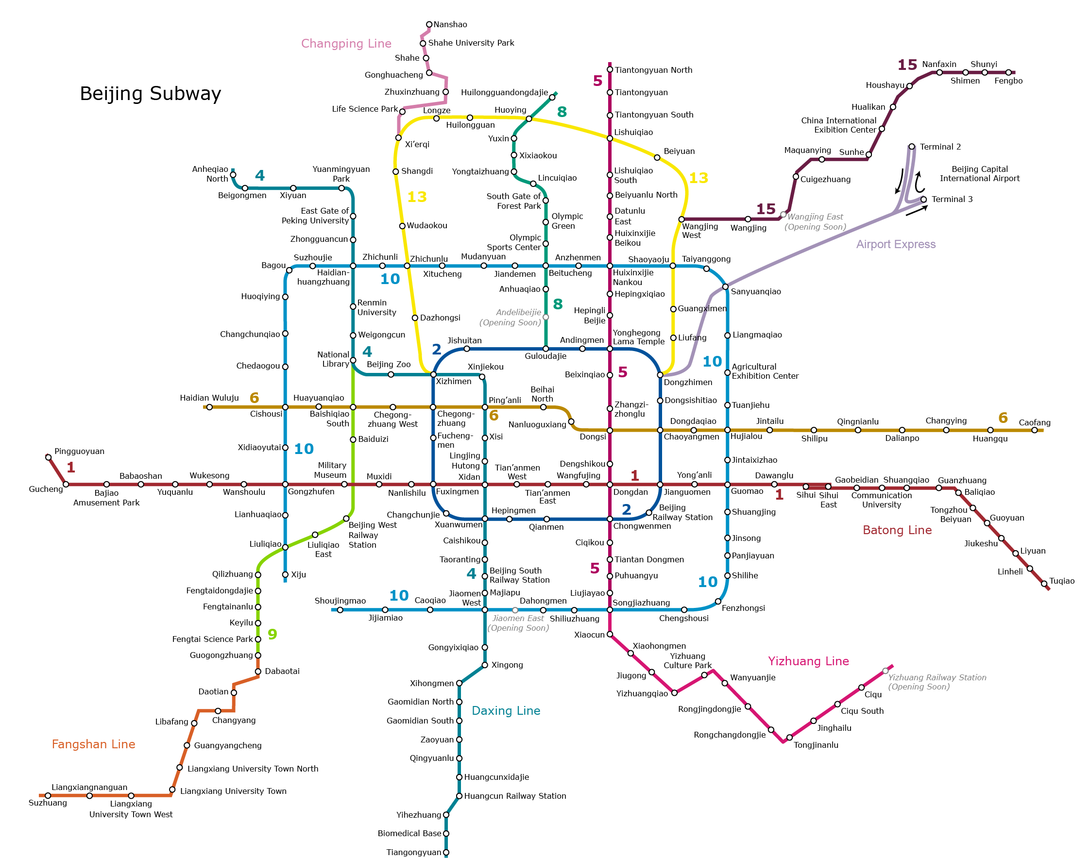 Beijing Subway Map 2017 Legend.China