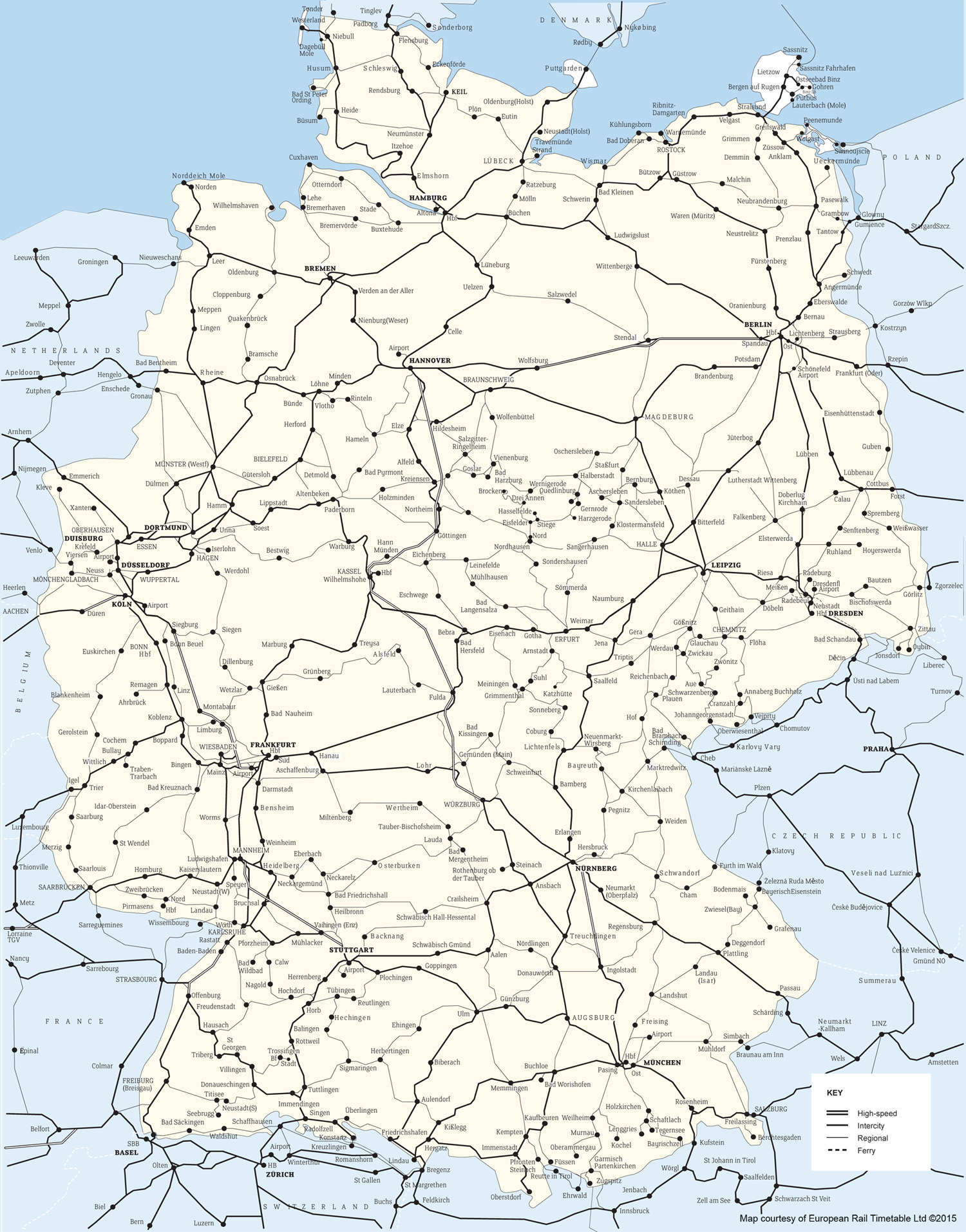 Germany Rail Map Germany Deutschland train / rail maps