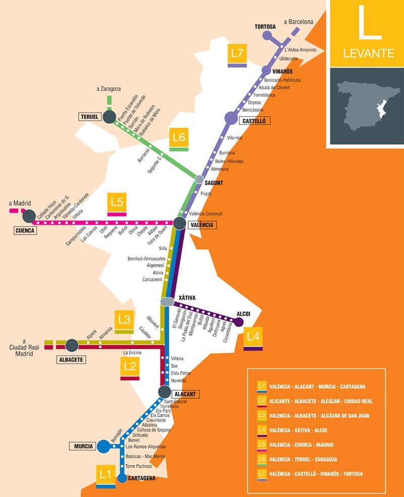 Trains In Spain Map.Spain Madrid Barcelona Train Rail Maps