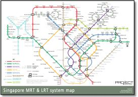 Singapore MRT & LRT train rail maps