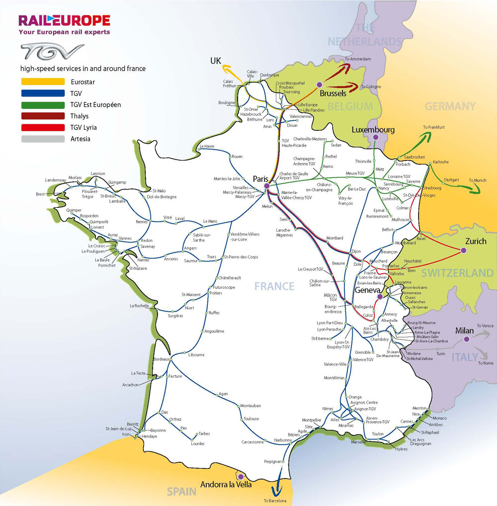 France & Paris train rail maps