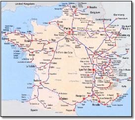 Map Of Trains In France.France Paris Train Rail Maps