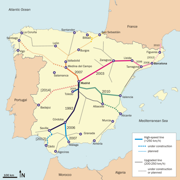 Map Of The Spain.Spain Madrid Barcelona Train Rail Maps