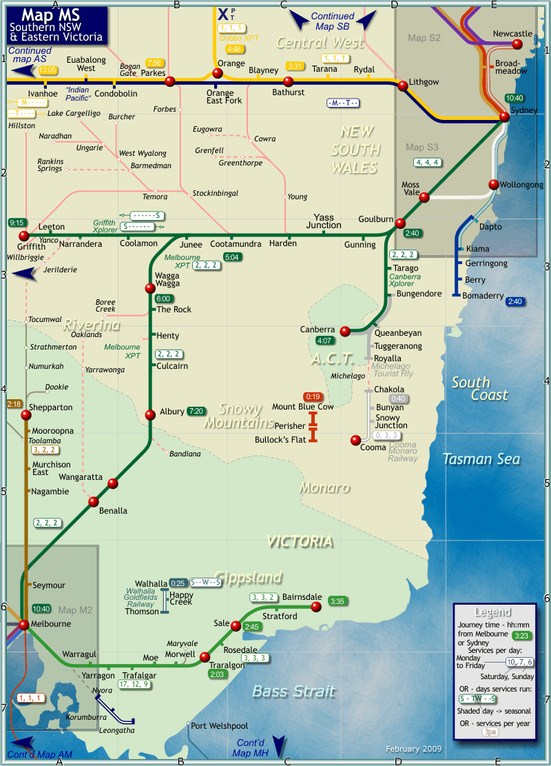 Map Eastern Australia.Australia New Zealand Train Rail Maps