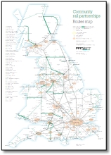 UK / Gt Britain train map CRP Community Rail Partnerships