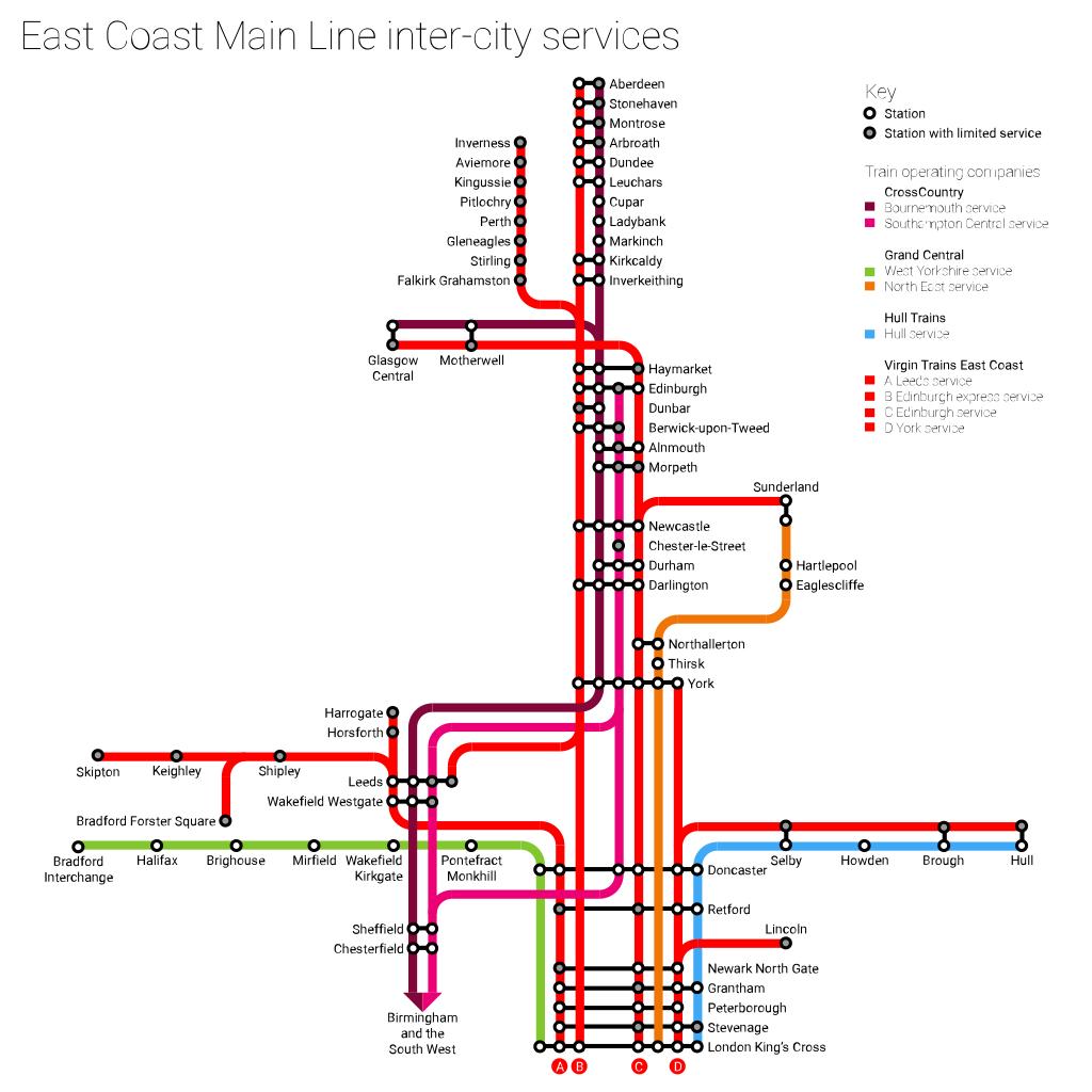 map of east coast train line East Coast Lner Virgin Gner Nxec Train Rail Maps map of east coast train line