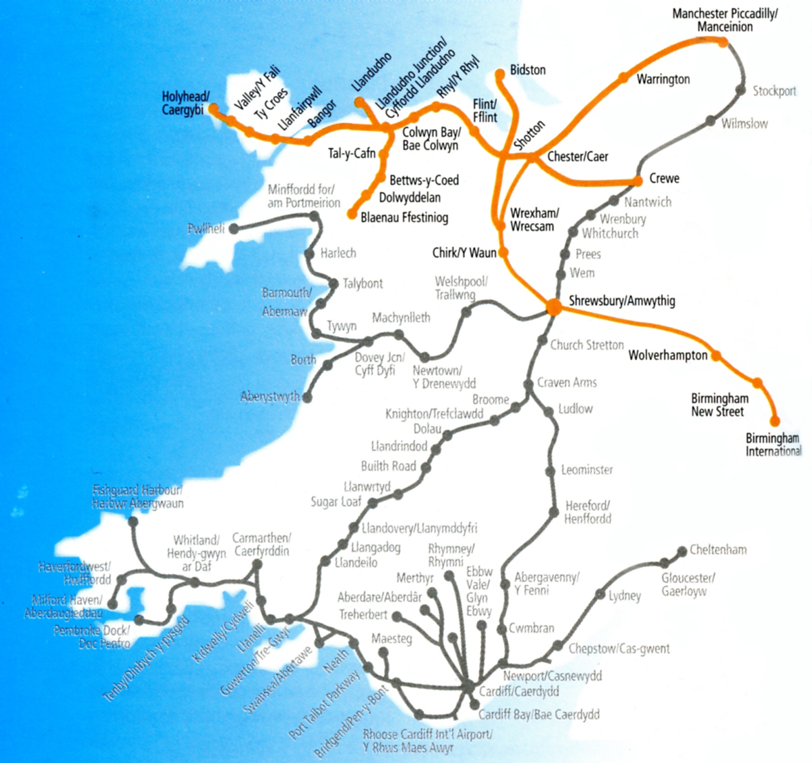 Wales train / rail maps