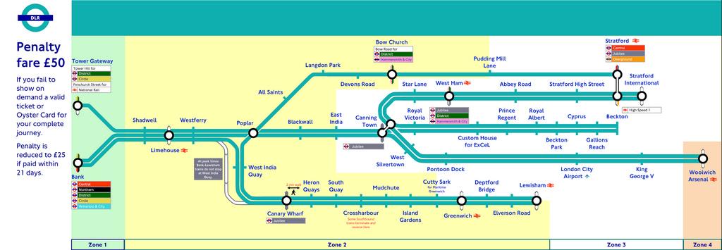 Docklands Light Railway - London dlr map