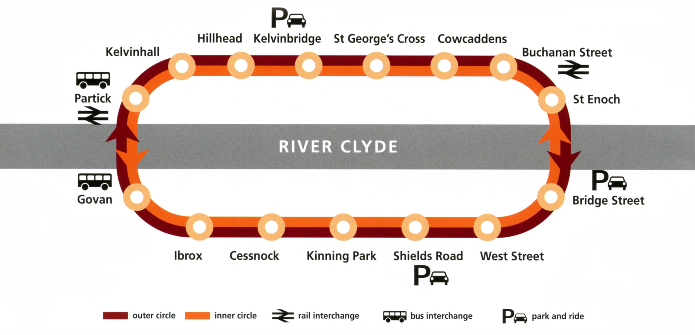 Glasgow Subway Underground map