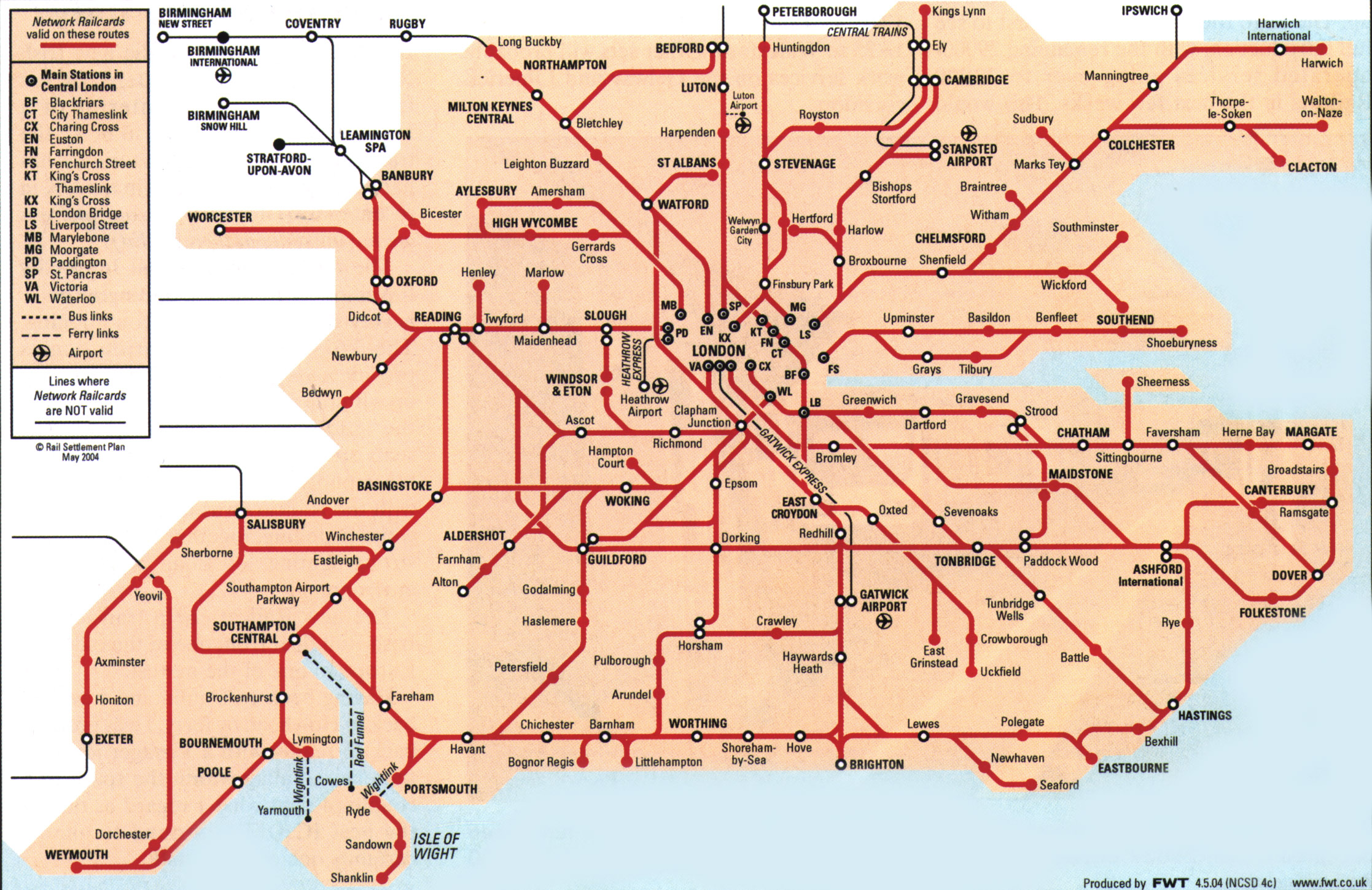 London south east – Map of London Uk
