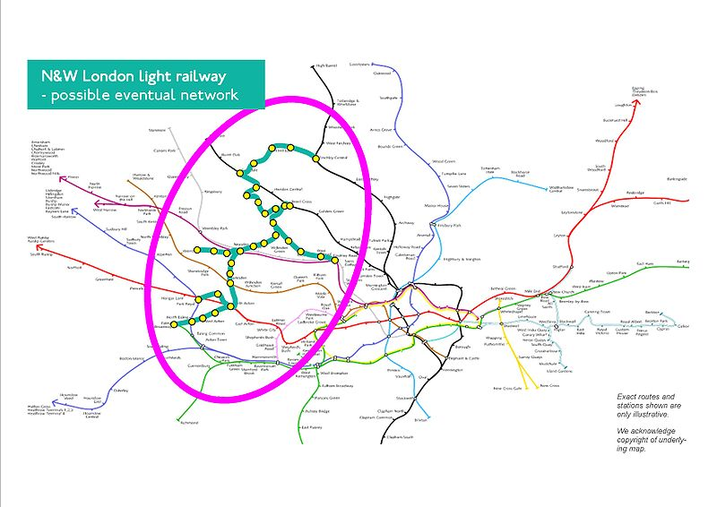 London Light Rail Map.London Light Rail