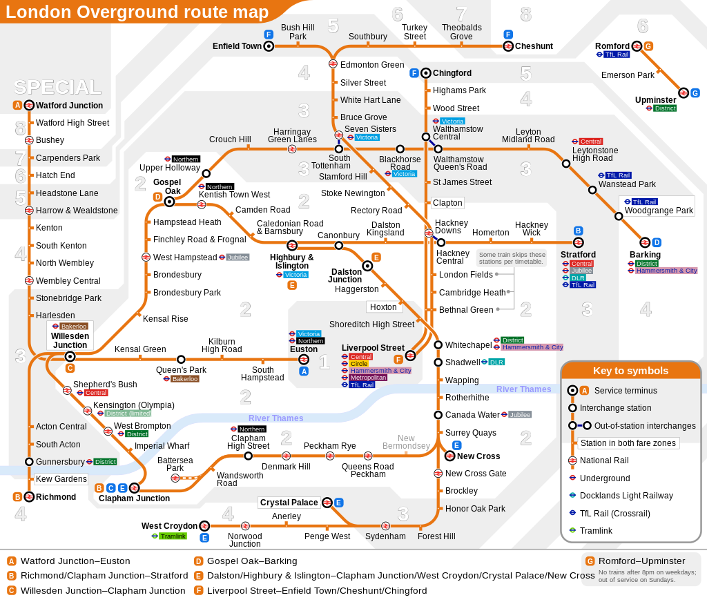 London Overground train rail maps