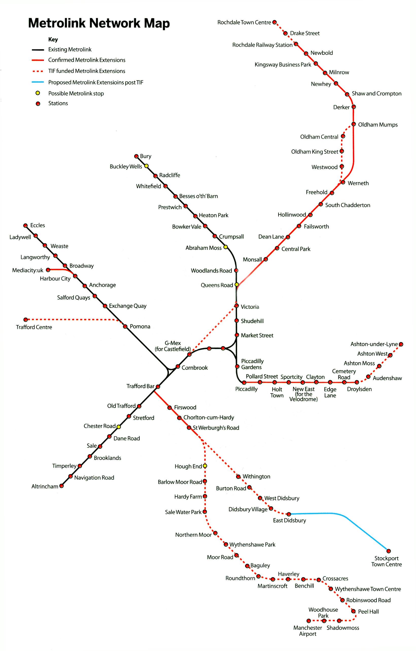tram map manchester