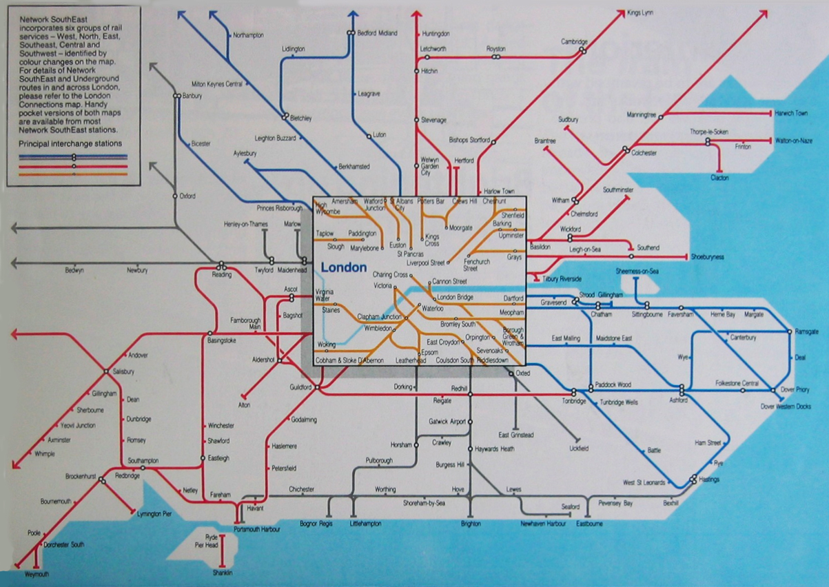 network south east train rail map