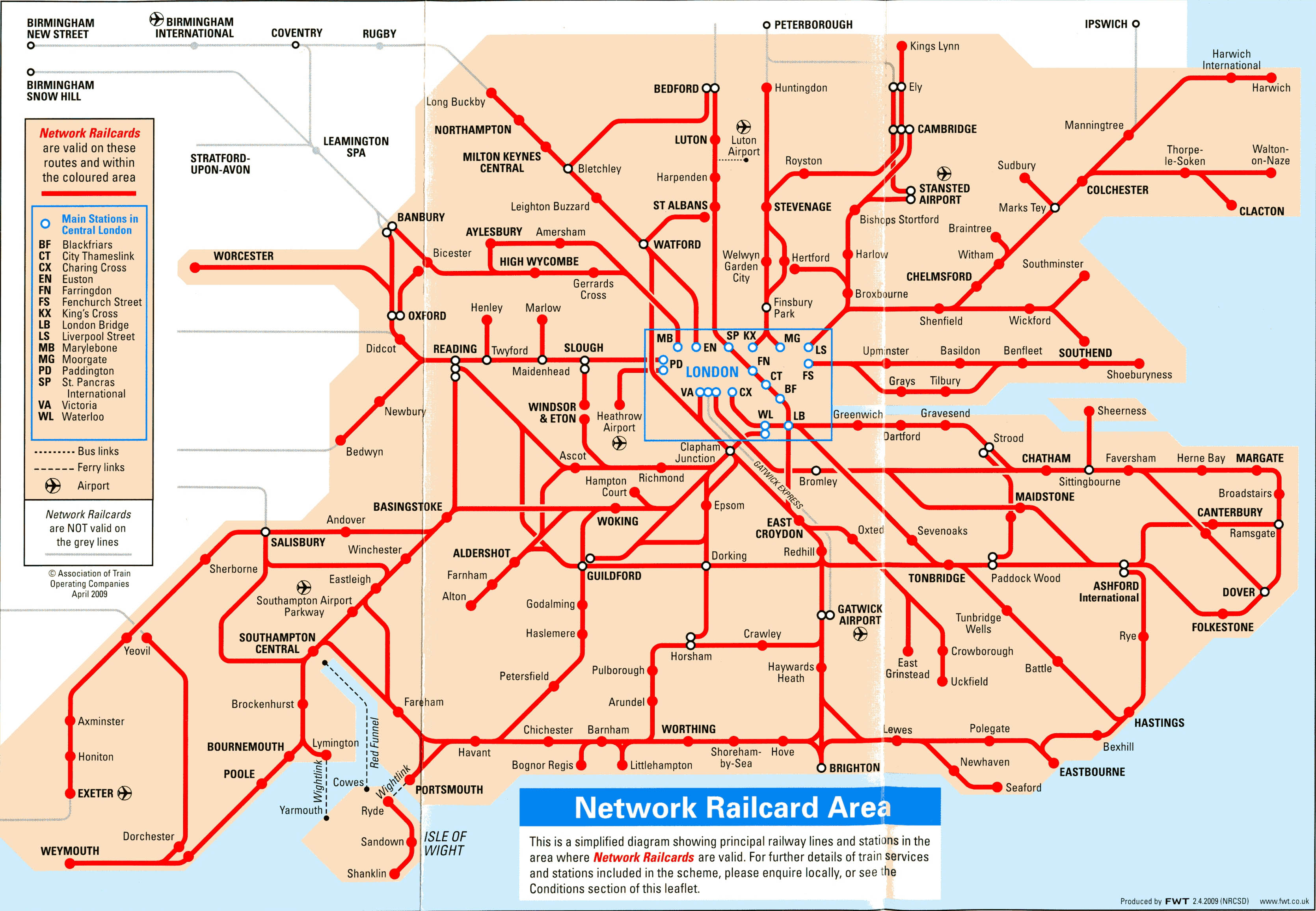 Network Railcard - Southeast us rail map