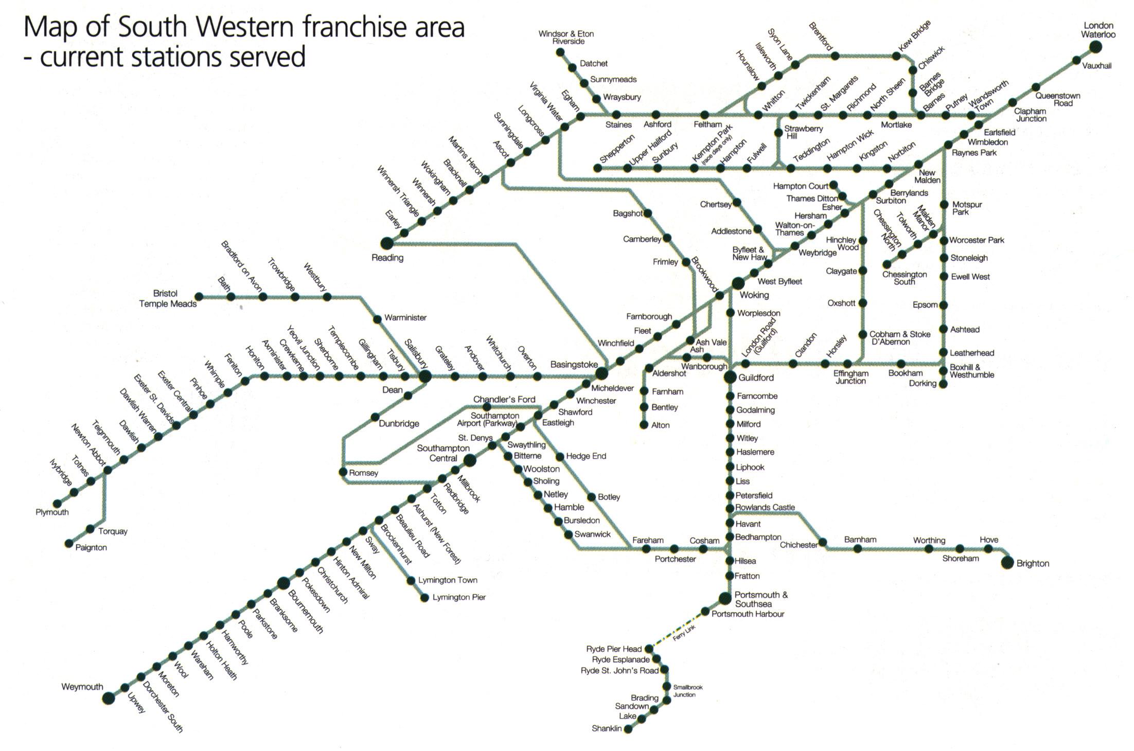 London Sw Map.South Western Train Rail Maps