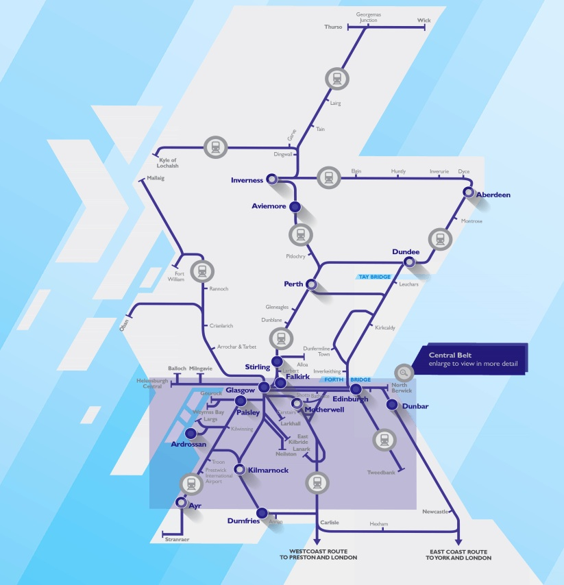 Scotland and Scotrail train rail maps – Train Travel In Scotland Map