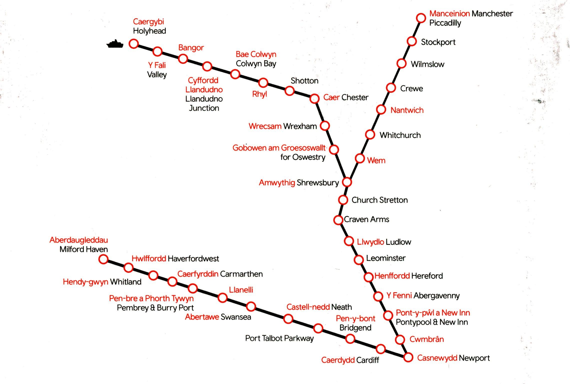 Map Of England Holyhead.Wales Train Rail Maps