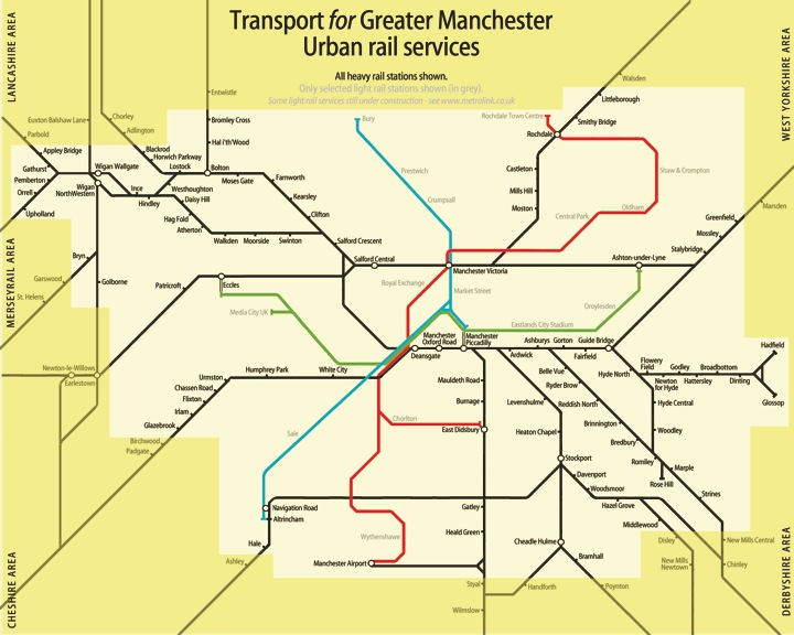 Greater Manchester Local Train Metrolink Work Maps: Uk Train System Map At Infoasik.co