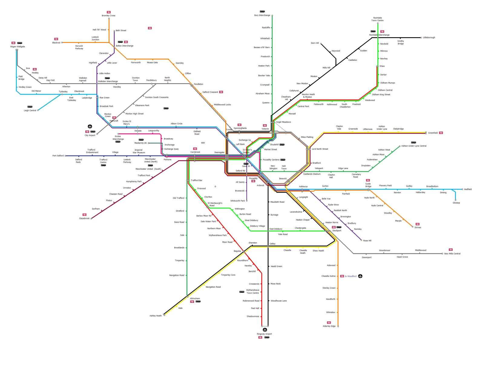 Greater Manchester local train & metrolink network maps