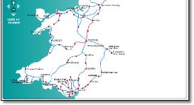 Map Of Wales Uk.Wales Train Rail Maps