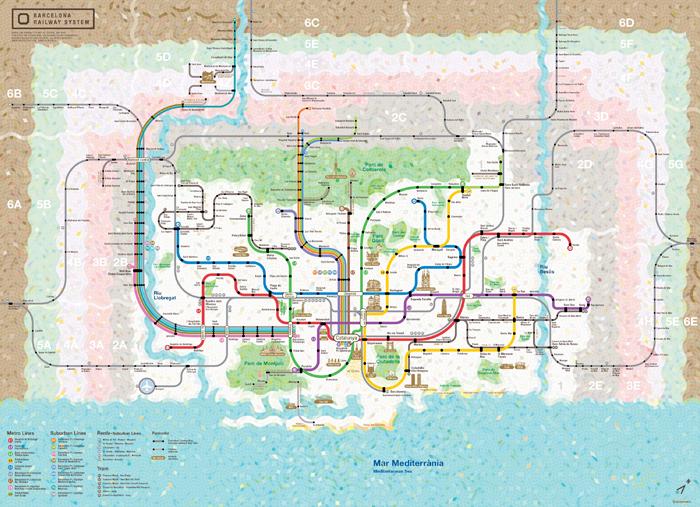 Spain Madrid Barcelona train rail maps