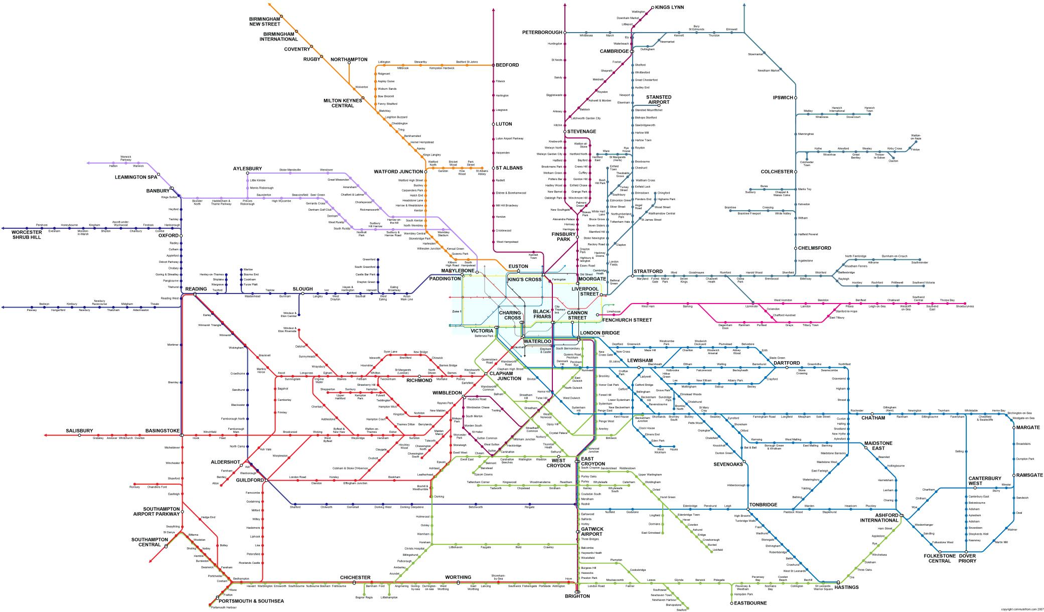 London South East - London map train