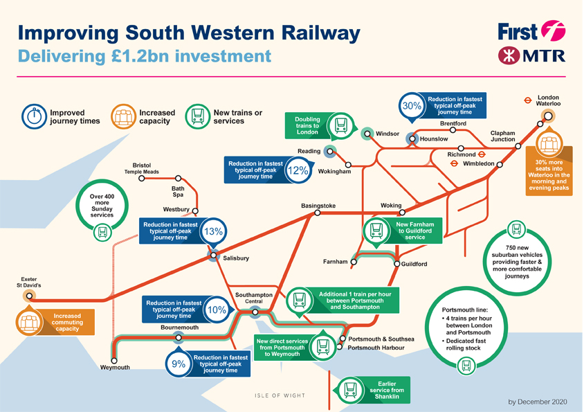 South Western train rail maps