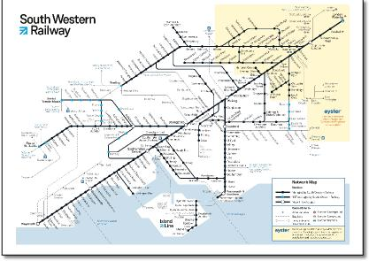 south western main line map South Western Train Rail Maps south western main line map